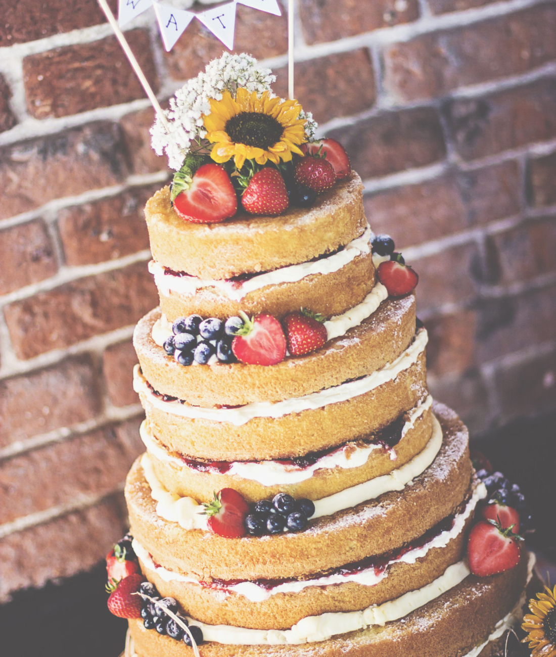 Naked-wedding-cake-sunflowers-bunting-rustic-vintage-dereham-norwich-norfolk