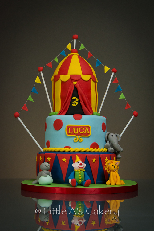 circus top birthday bake Little A's Cakery Dereham