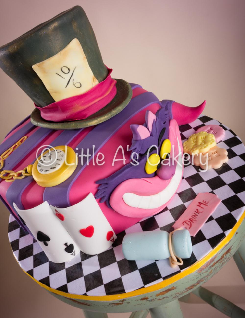 alice-in-wonderland-mad-hatter-watch-cards-birthday-cake-Little-A's-Cakery-Dereham-Norwich-Norfolk