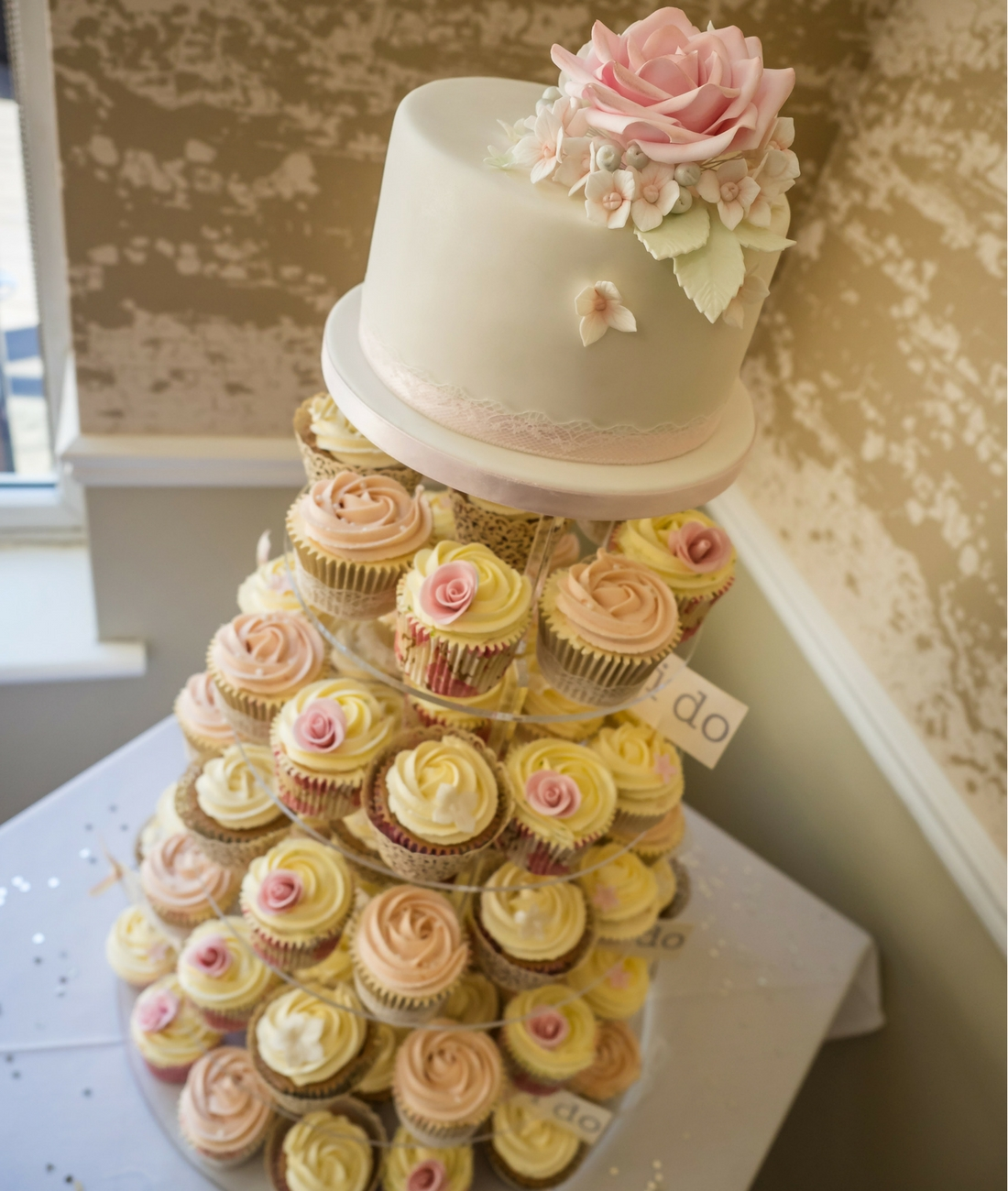 Love Artisan Wedding Cakes - Floral White Wedding Cake and Cupcakes