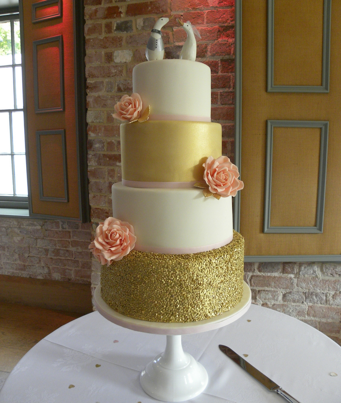 Love Artisan Wedding Cakes - Gold Sparkly Confetti Wedding Cake