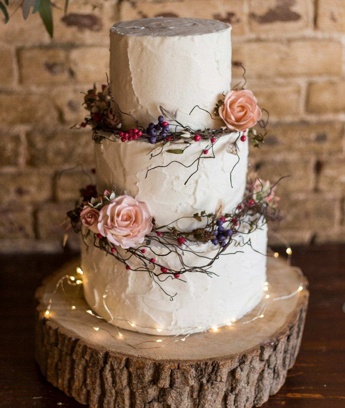 Love Artisan Wedding Cakes - Ivory Floral Rustic Wedding Cake