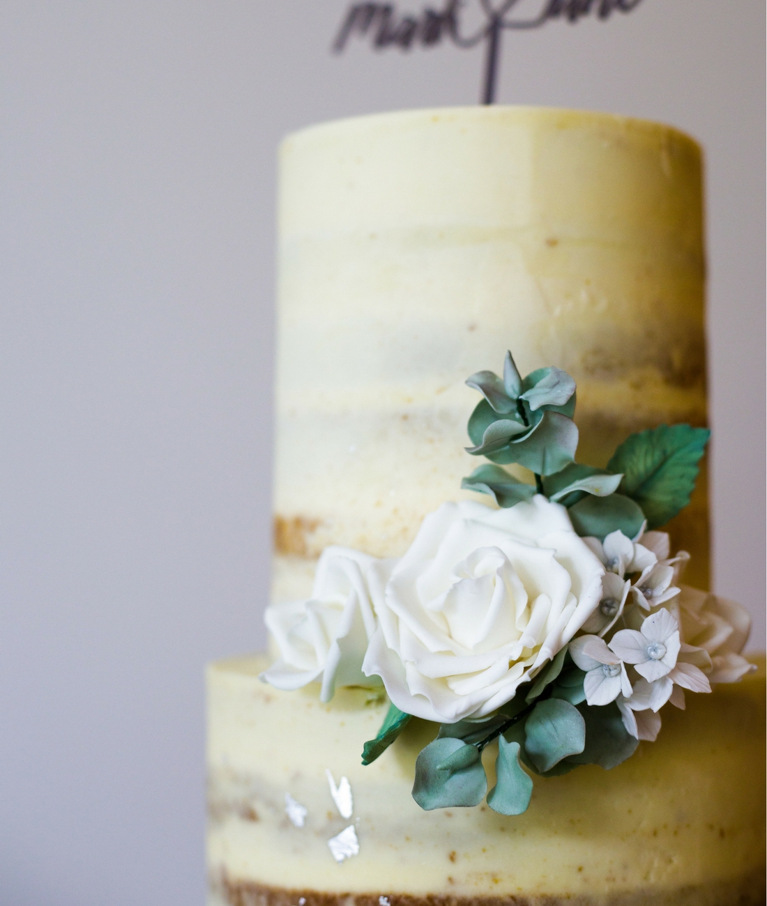 Love Artisan Wedding Cakes - Naked Ivory Floral Wedding Cake
