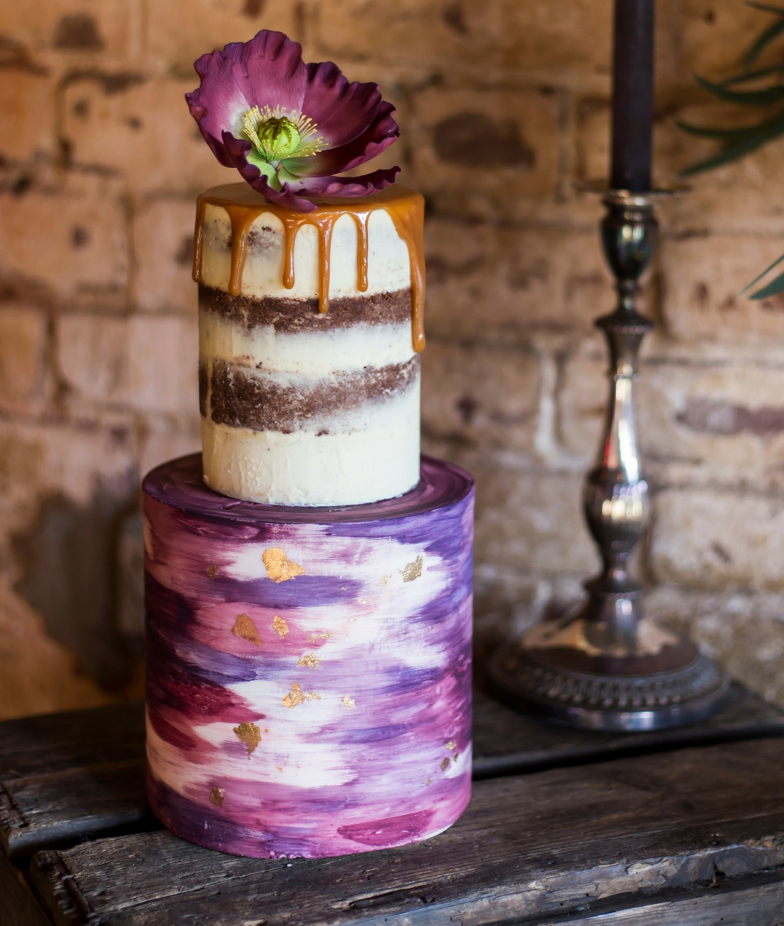 Love Artisan Wedding Cakes - Purple and Pink Naked Watercolour Wedding Cake