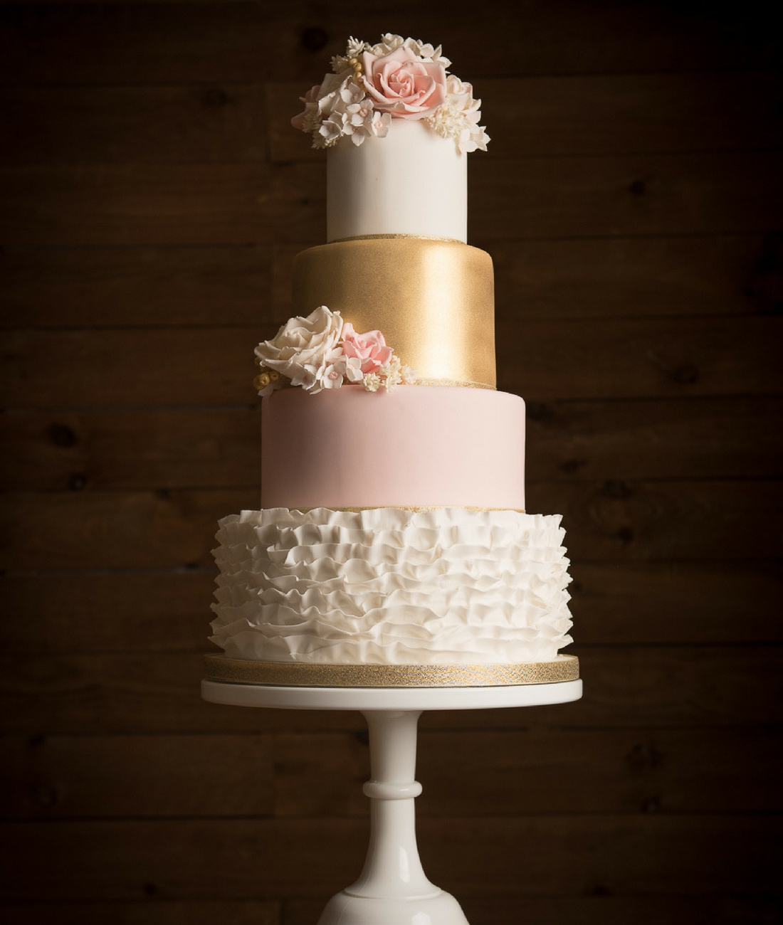 Love Artisan Wedding Cakes - Ruffles Gold Pink Wedding Cake