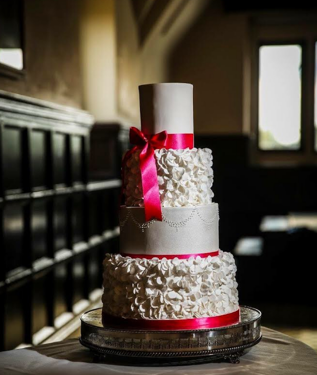 Love Artisan Wedding Cakes - Ruffles Silver Pink Wedding Cake
