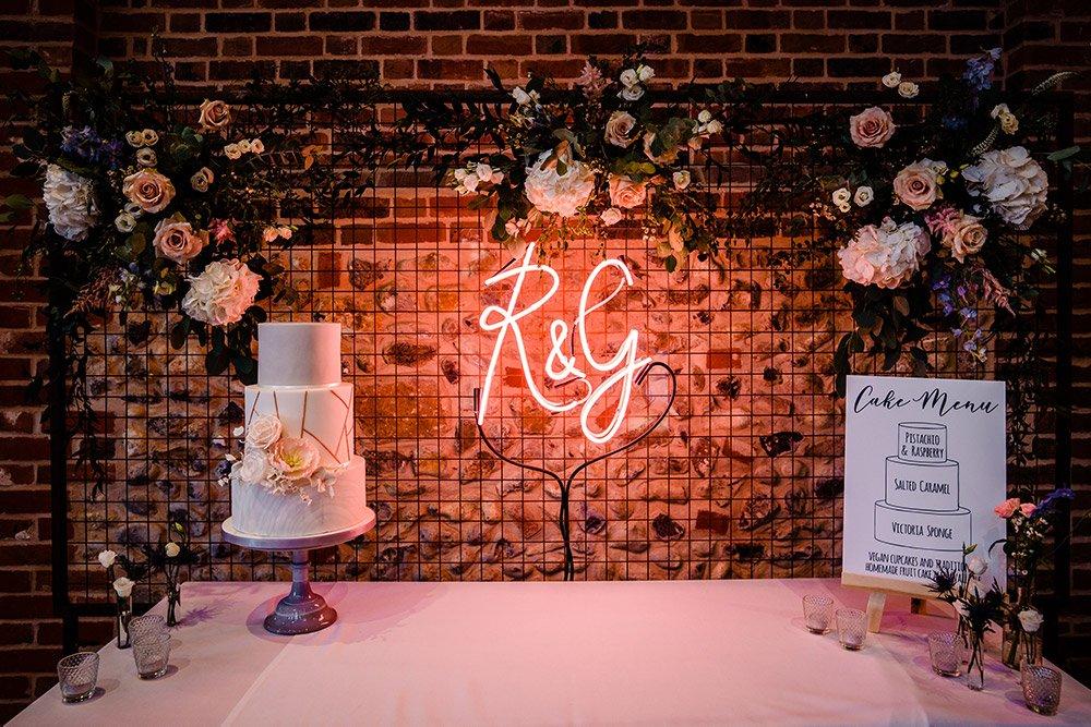 Wedding cake table styling